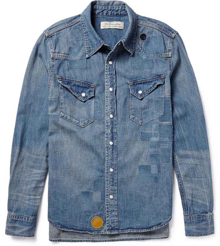Stampd distressed denim shirt