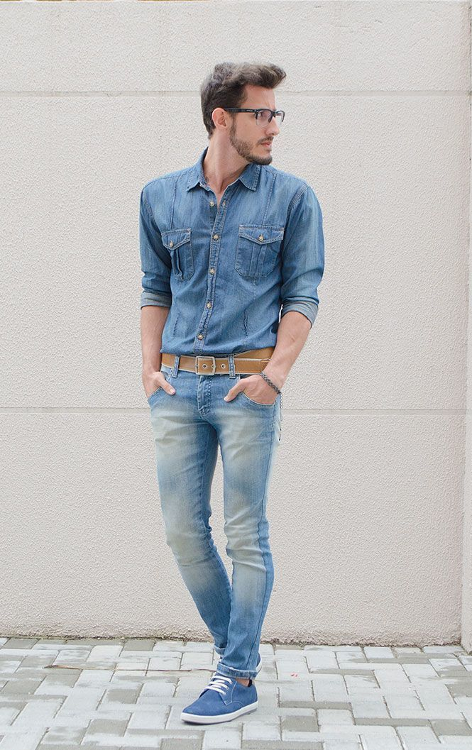 1439 Casual youth blue-denim-shirt-lig
