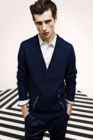 1439 2018 vêtements navy-v-neck-sweater-