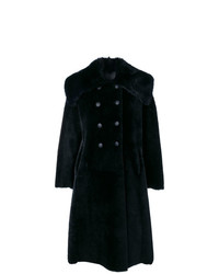 Abrigo con cuello de piel azul marino de Giorgio Armani