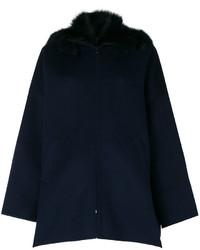 Abrigo con cuello de piel azul marino de P.A.R.O.S.H.