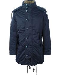 Abrigo con cuello de piel azul de Armani Jeans