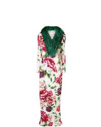 Abrigo con cuello de piel en blanco y rojo de Dolce & Gabbana