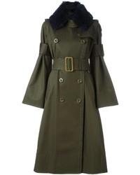 Abrigo con cuello de piel verde oliva