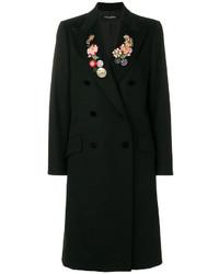 Abrigo con print de flores negro de Dolce & Gabbana