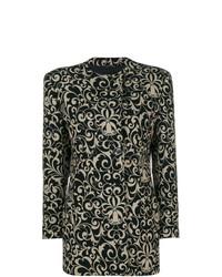Abrigo con print de flores negro de Versace Vintage