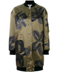 Abrigo con print de flores verde oliva de Moschino