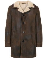 Abrigo de cuero en marrón oscuro de Neil Barrett