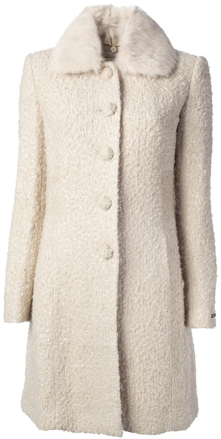 Abrigo de lana rizada blanco de Twin-Set