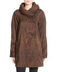 Abrigo de leopardo marrón de Mycra Pac Designer Wear