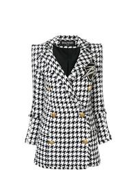 Abrigo de pata de gallo en blanco y negro de Balmain