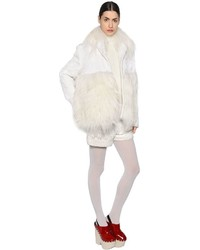 Abrigo de piel blanco de Moncler Gamme Rouge