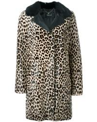 Abrigo de piel de leopardo marrón claro de Twin-Set