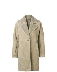 Abrigo de piel de oveja marrón claro de Salvatore Ferragamo