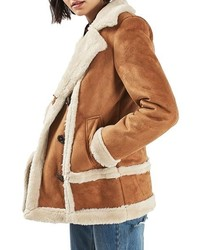 Abrigo de piel de oveja marrón claro de Topshop