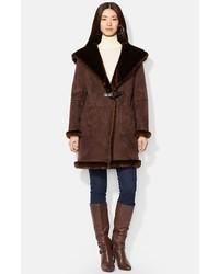 Abrigo de piel de oveja marrón