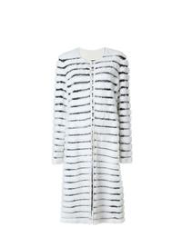Abrigo de piel de rayas horizontales blanco de Liska
