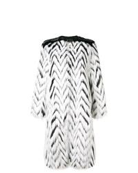 Abrigo de piel de rayas horizontales en blanco y negro de Givenchy