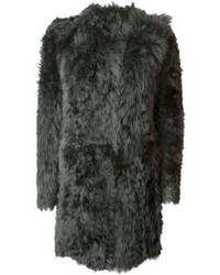 Abrigo de piel en gris oscuro