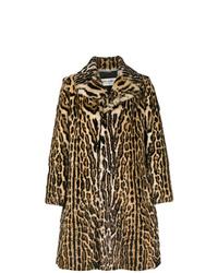 Abrigo de piel en marrón oscuro de Saint Laurent