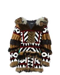 Abrigo de piel estampado en marrón oscuro de Dsquared2