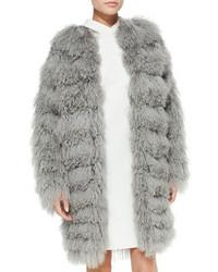 Abrigo de piel gris de Ralph Lauren