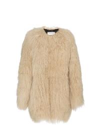 Abrigo de piel marrón claro de Saint Laurent