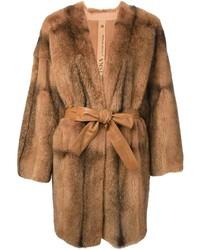 Abrigo de piel marrón