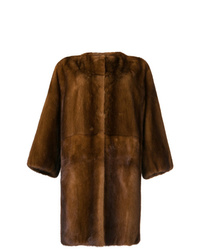 Abrigo de piel marrón de P.A.R.O.S.H.