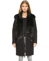 Abrigo de piel negro de DKNY