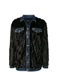 Abrigo de piel negro de DSQUARED2