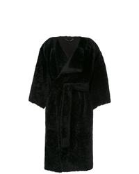 Abrigo de piel negro de Fendi