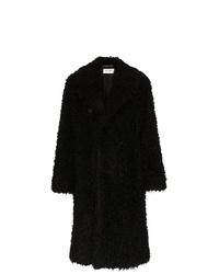 Abrigo de piel negro de Saint Laurent