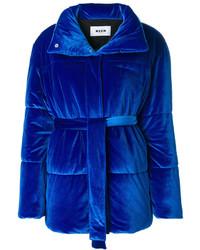 Abrigo de plumón azul marino de MSGM