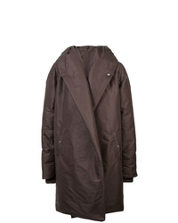 Abrigo de plumón en marrón oscuro de Rick Owens