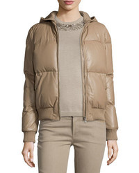 Abrigo de plumón marrón claro de Ralph Lauren