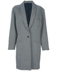 Abrigo de rayas verticales en negro y blanco de Versace