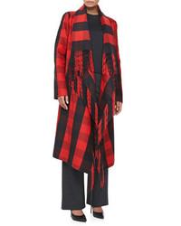 Abrigo de tartán en rojo y azul marino de Michael Kors