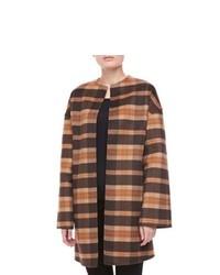 Abrigo de tartán marrón claro
