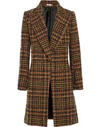 Abrigo de tartán marrón