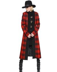 Abrigo de tartán rojo de Philipp Plein