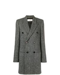 Abrigo en zig zag en gris oscuro de Saint Laurent