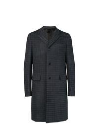 Abrigo largo a cuadros en gris oscuro de Prada