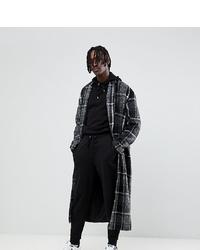 Abrigo largo a cuadros en negro y blanco