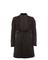 Abrigo largo bordado negro