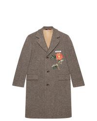 Abrigo largo con print de flores marrón de Gucci