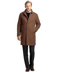 Abrigo largo de cuadro vichy marrón