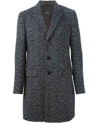 Abrigo largo de espiguilla en gris oscuro de Hugo Boss