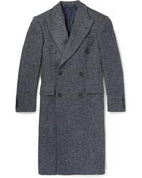 Abrigo largo de espiguilla en gris oscuro de Richard James