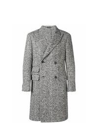Abrigo largo de espiguilla en negro y blanco de Z Zegna
